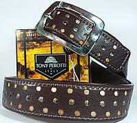 Кожаный ремень коричневый с перфорацией Tony Perotti  301 (Италия)