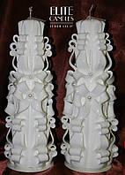 """Набір весільних свічок """"Сімейне вогнище"""" майстерня різьблення, класичний білий колір, дві свічки"""