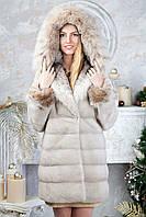 "Шуба из норки ""Платинум блонд"" с капюшоном Real mink fur coats jackets, фото 1"