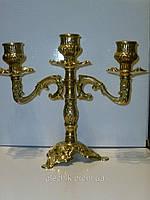 Подсвечник - канделябр декоративный из латуни на 3 свечи 17,5(высота)