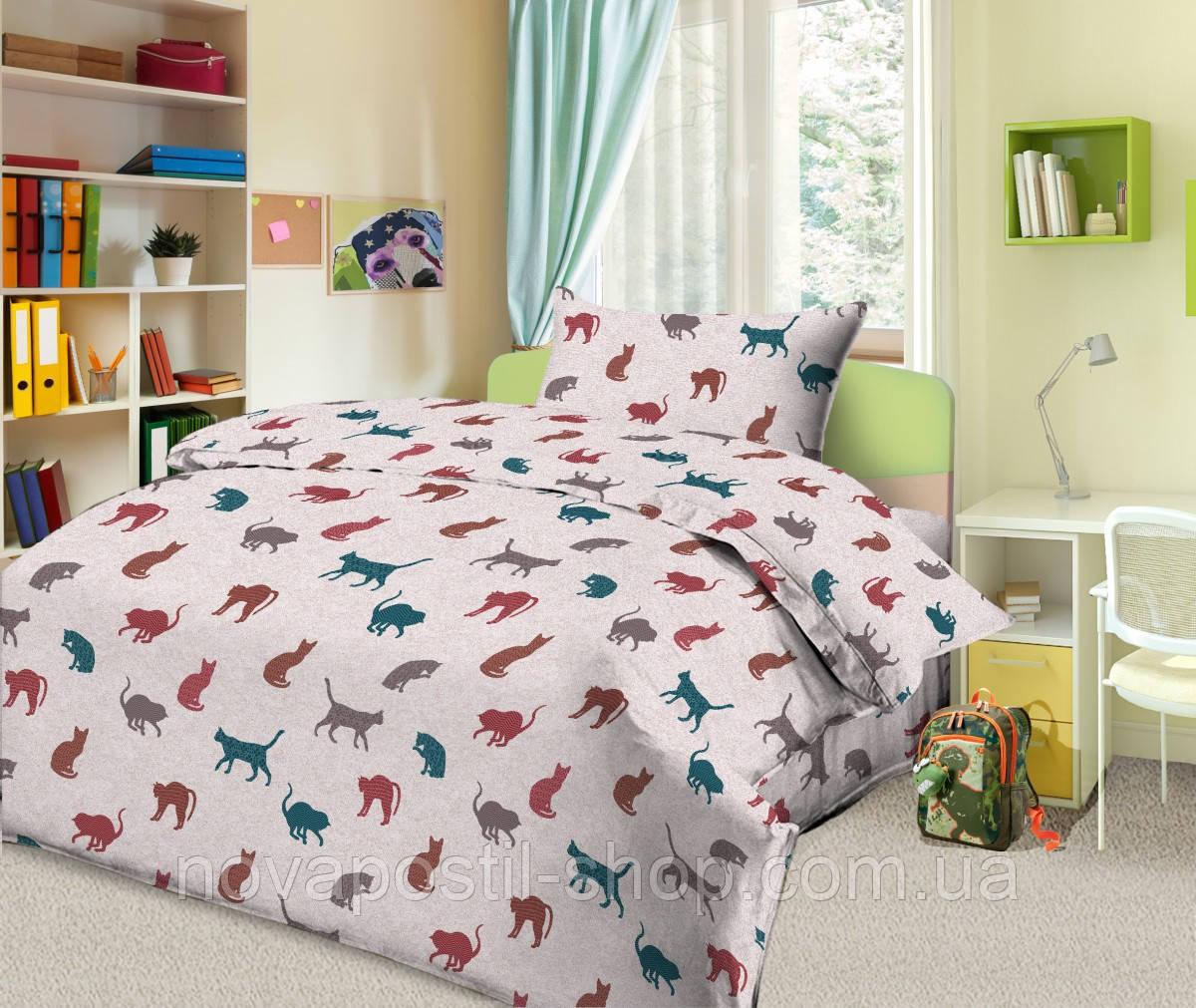 Комплект постельного белья Кошки Силуэт (подростковый)