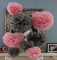 Помпоны из тишью, светло-розовые, 25 см
