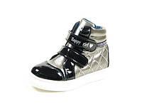 Демисезонные ботинки, модная обувь для девочки р.21-26 ТМ Jong Golf,код  A-2550-0 Черный-Серый