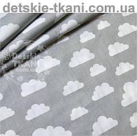 Ткань с белыми облаками разного размера на сером фоне (№ 575а)