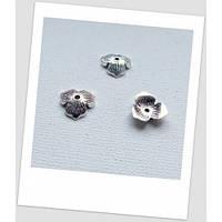 Шапочка для бусины металлическая, цвет: античноесеребро 10 х 11 мм