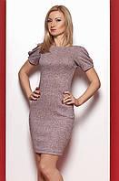 Женское платье из ангоры пудрового цвета с открытой спиной и коротким рукавом. Модель 969 SL.