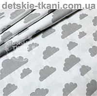 Ткань с серыми облаками разного размера на белом фоне (№ 576а)