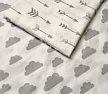 """Ткань """"Облака разного размера"""" серые на белом фоне (№ 576а), фото 5"""