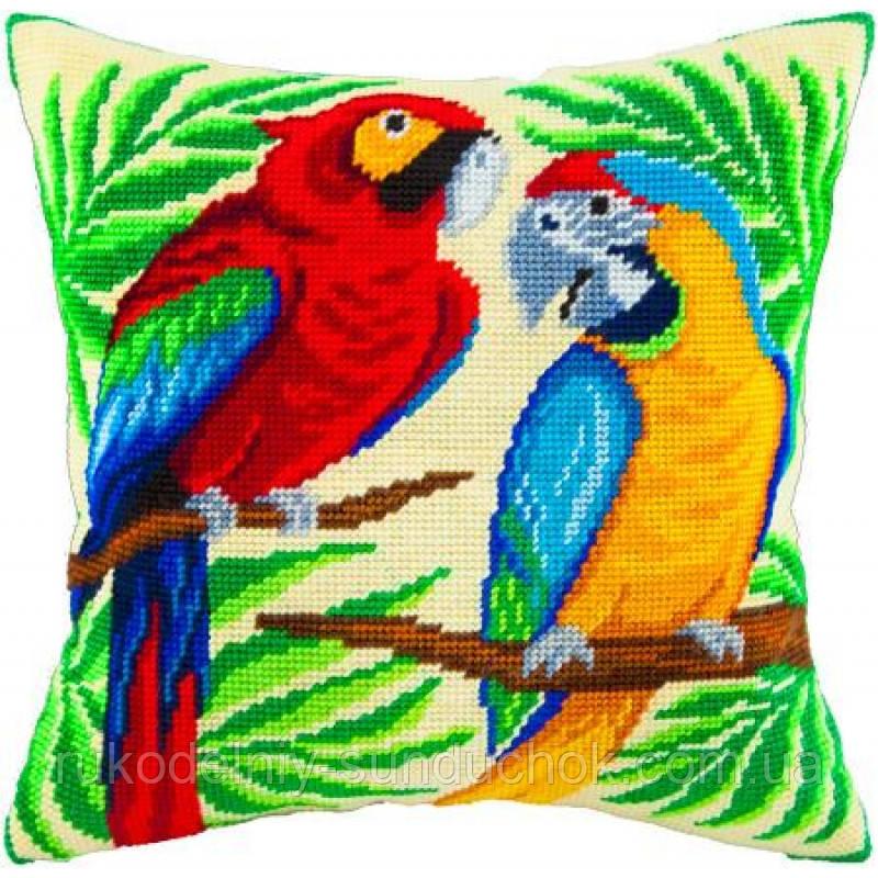 Набор для вышивки крестом Чарівниця V-55 Подушка Пара попугаев