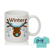 Чашка Олень со снежинками принт Белая