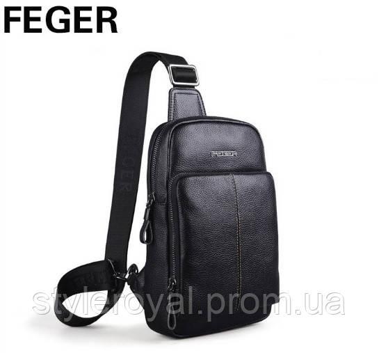 Слинго-рюкзак черный из натуральной кожи