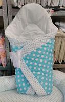 """Конверт-одеяло на выписку на липучке с красивым бантом (весенне-осенний- зимний), 90х90- """"Горошки """""""