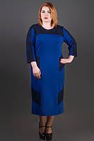 Платье Грация (электрик) ниже колена с гипюром большого размера 54-60 батал 60
