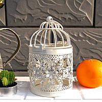Подсвечник - клетка декоративная металл белый - 15х8 см, фото 1