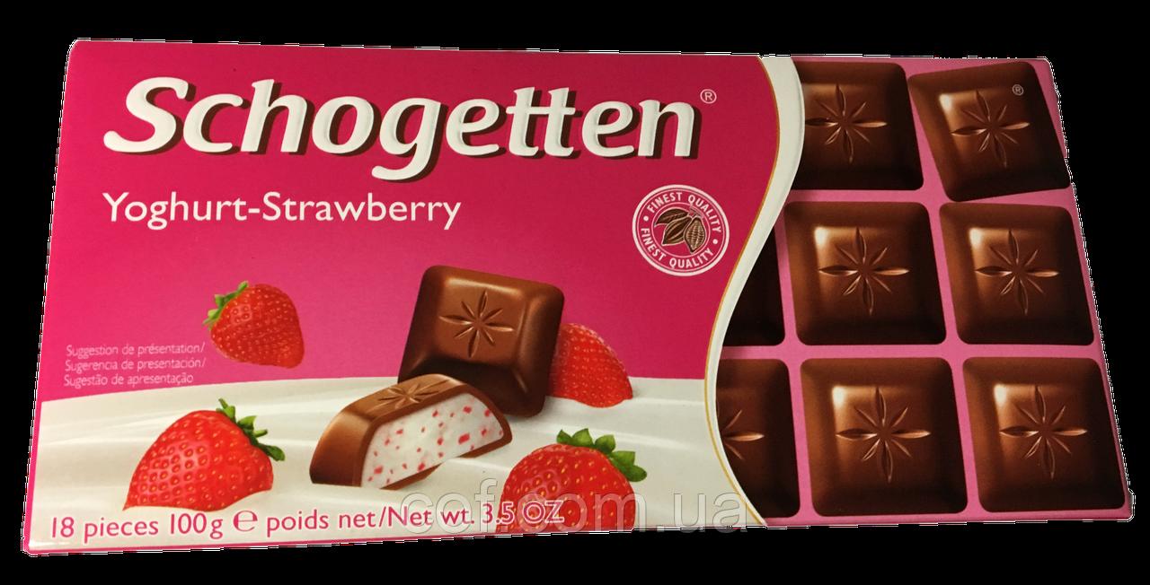 Шоколад молочный Schogetten Yoghurt-Strawberry (Шогеттен клубничый йогурт) 100г (Германия)
