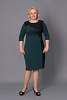 Модное женское платье зеленого цвета больших размеров