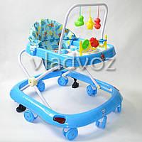 Детские ходунки музыкальная панель тормоз синие Bamby 12 мелодий