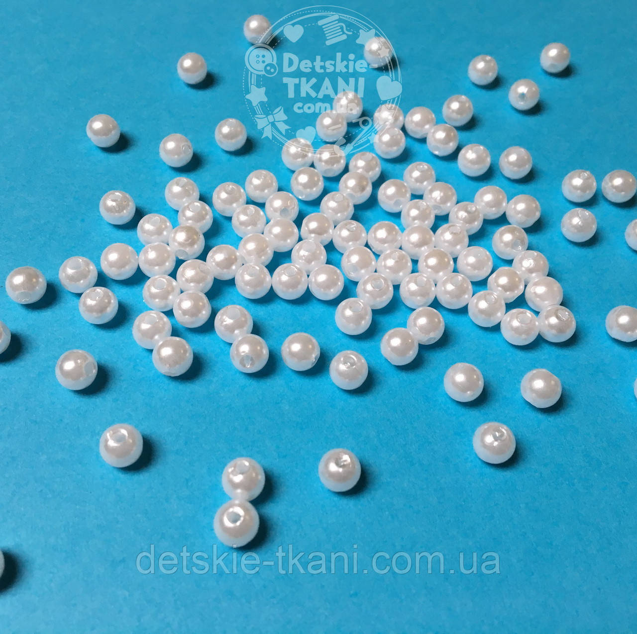 Бусины жемчужные малые белого цвета, 100 шт, размер 5 мм