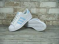 Женские кроссовки Adidas SuperStar White/Blue