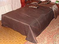 Покрывало плед коричневое с полоской, фото 1