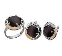 """Набір """"Удача"""" - Кільце і сережки з срібла 925 проби з золотими вставками,серебряный набор с золотыми вставками"""