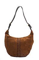Женская  сумка из натуральной  кожи фабричная (отшита  в Италии) коричневого цвета, замшевая