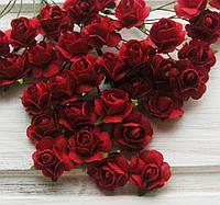 Букет роз,бумажные,красный, 2 см, 6 шт