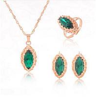 Ювелирный набор украшений Зеленый изумруд 3 в 1, фото 1