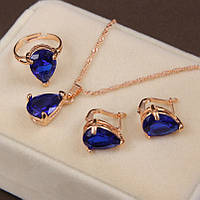 Ювелирный комплект Красота синий 3 в 1, фото 1