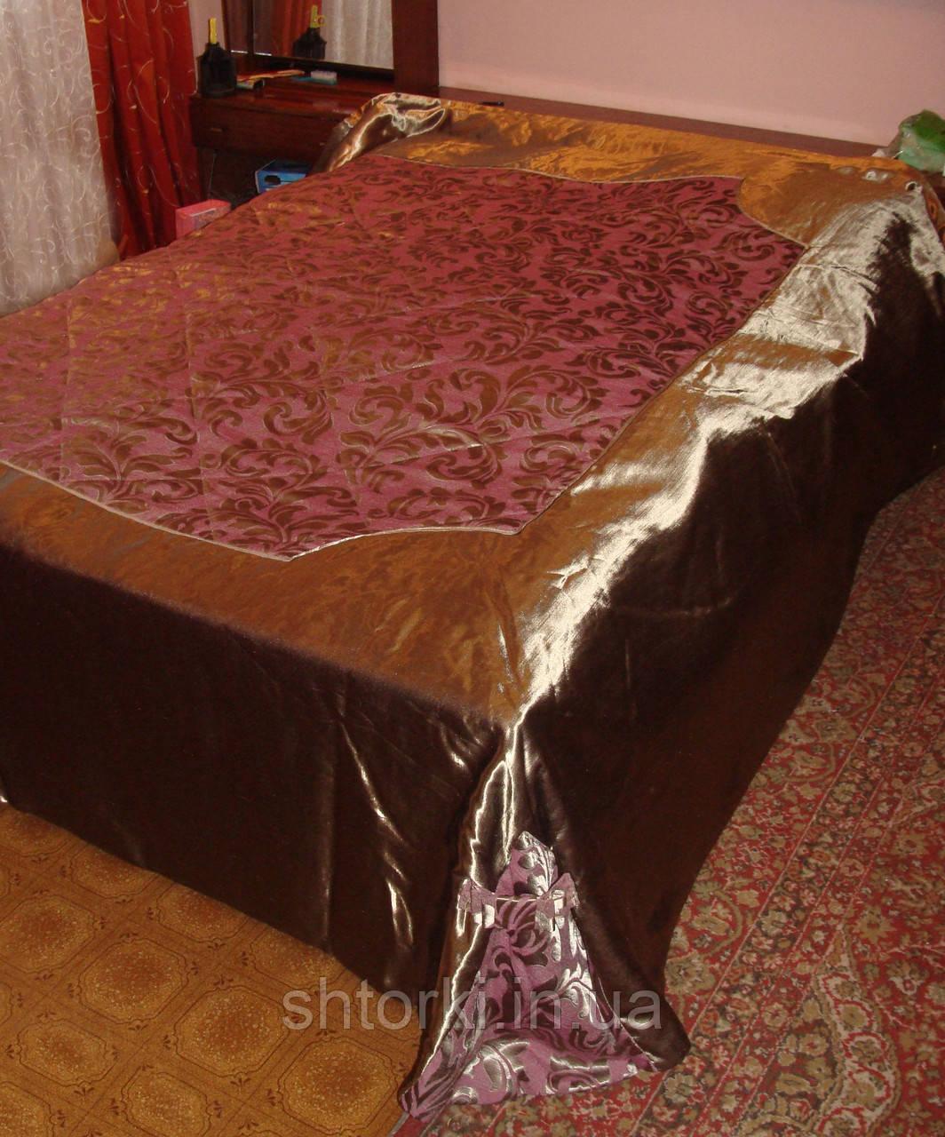 Покрывало пледом беж с розовым