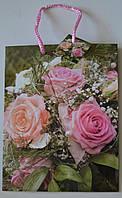 Подарочный пакет, 23×18×10 см / цветы 6