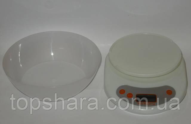 Весы кухонные электронные с чашкой до 5кг Белые