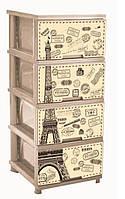 """Комод на 4 ящика с декором """"Париж"""" кремовый Алеана"""