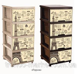 """Комод на 4 ящика с декором """"Париж"""" кремовый Алеана, фото 2"""