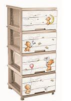"""Комод на 4 ящика с декором """"Медведи"""" кремовый Алеана"""