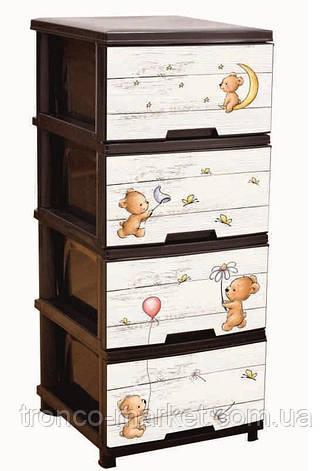 """Комод на 4 ящика с декором """"Медведи"""" коричневый Алеана, фото 2"""