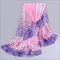 Шарф Нежность Розы розовый