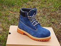 Стильные женские ботинки Timberland 6 inch Winter Fur. (тимберленд 6 инч на меху) синие