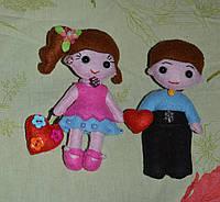 Влюбленная пара куклы из фетра, фото 1