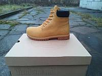 Модные ботинки Timberland 6 inch Winter Fur. (тимберленд 6 инч мех) медовые