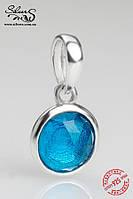 """Серебряная подвеска-шарм Пандора (Pandora) """"Цветная капля"""" для браслета"""