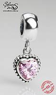 """Серебряная подвеска-шарм Пандора (Pandora) """"Розовое сердце"""" для браслета"""