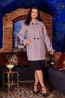 Пальто кашемировое большого размера на двубортной застежке с патами на рукавах