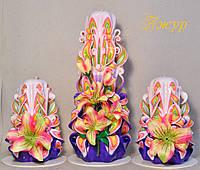 Набор свечей ручной работы с тканевыми цветами лилии