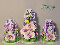 Набор свечей ручной работы с тканевыми цветами орхидеи