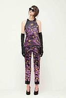 Костюм Versace из блузы и капри в сиреневых тонах с цветочным принтом OB90062