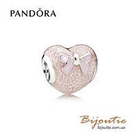 Pandora Шарм РОЗОВОЕ КРУЖЕВНОЕ СЕРДЦЕ #792044ENMX серебро 925 Пандора оригинал