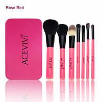 Набор кистей в металлическом футляре Acevivi7 Makeup brush Set cosmetics Rose red