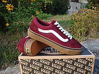 Мужские Кеды от Vans Textile-Suede.  (ванс текстиль сьюд) бордовый