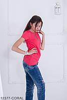 Женская блузка-туника Подіум Jucca 12377-CORAL S Персиковый